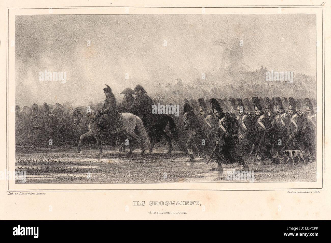 Auguste Raffet (French, 1804 - 1860). Ils grognaient, et le suivaient toujours!, 1836. Lithograph - Stock Image