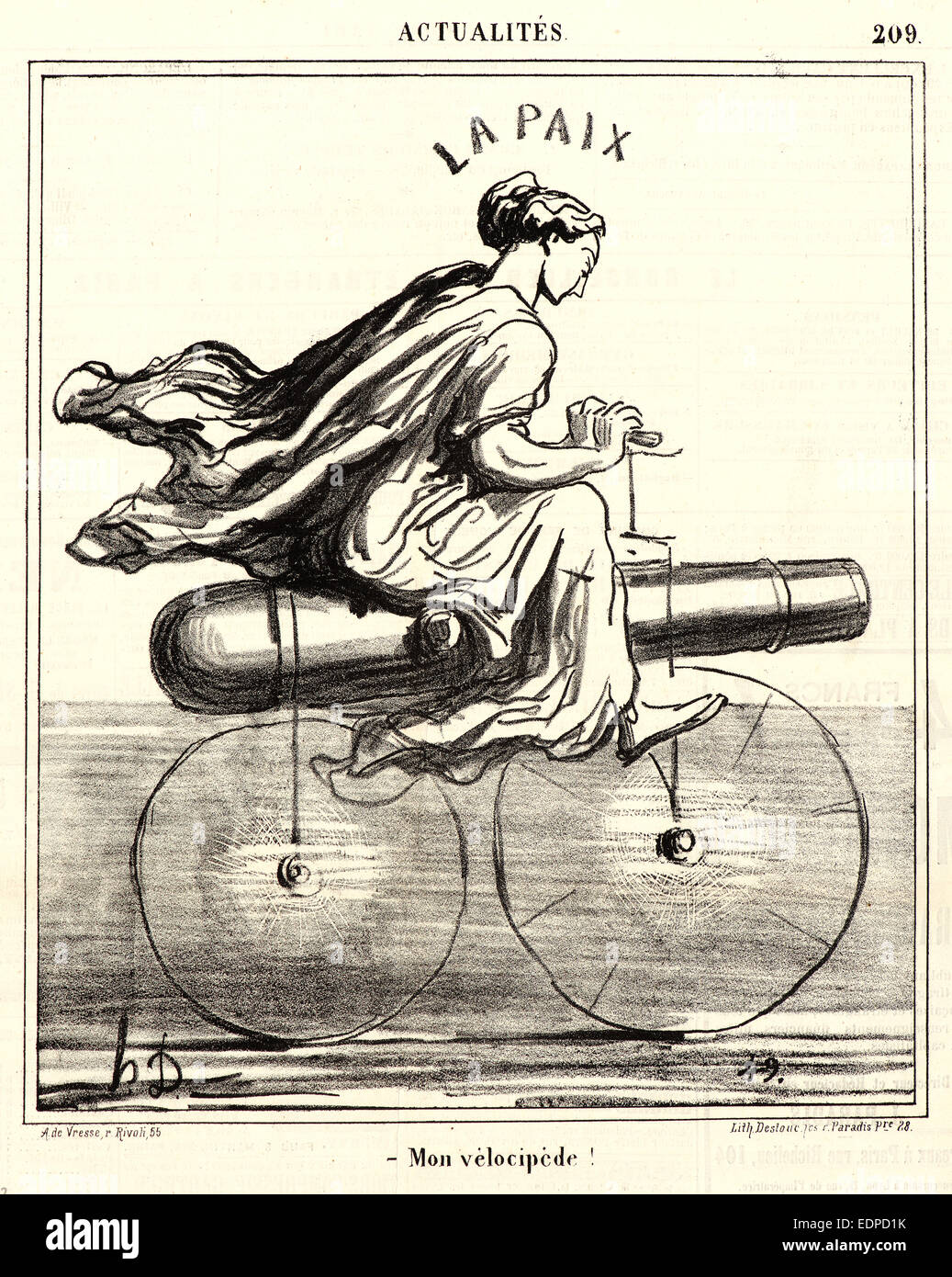 Honoré Daumier (French, 1808 - 1879). Mon velocipède!, 1868. From Actualités. Lithograph on newsprint - Stock Image