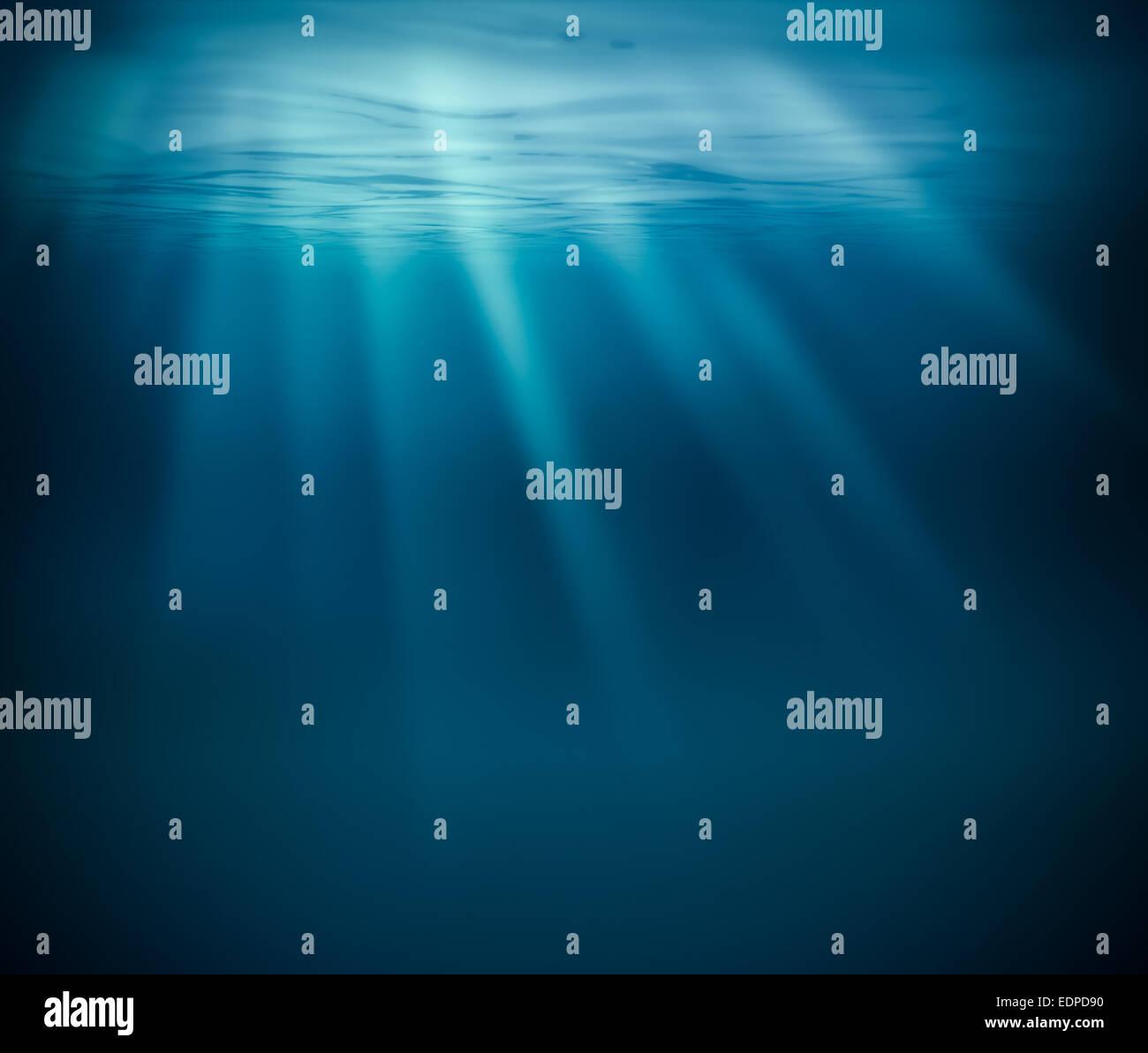 Sea deep or ocean underwater - Stock Image