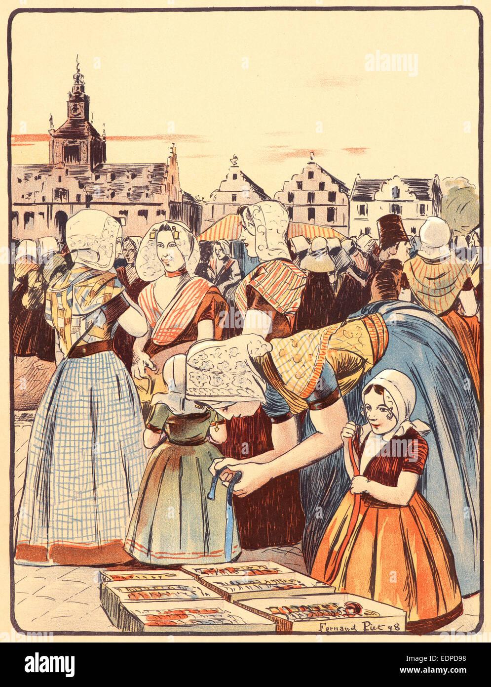 Fernand Piet (French, 1869 - 1942). Un Marché En Zélande, 1898. Color lithograph on wove paper - Stock Image