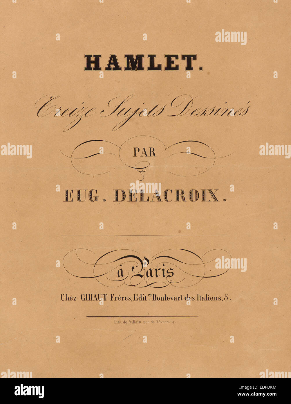 Eugène Delacroix (French, 1798 - 1863). Hamlet: title page, 1834-1843. From Hamlet. Lithographs - Stock Image