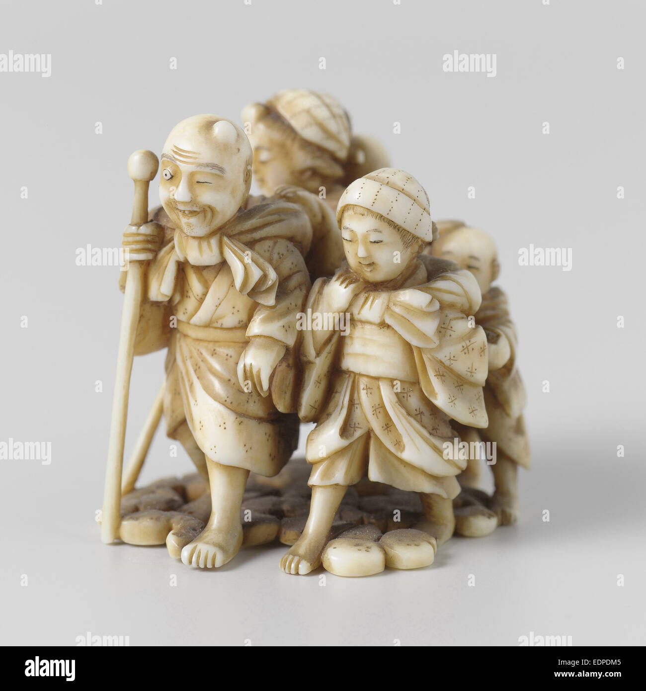 Netsuke, A group of five persons, 1700 - 1900 - Stock Image