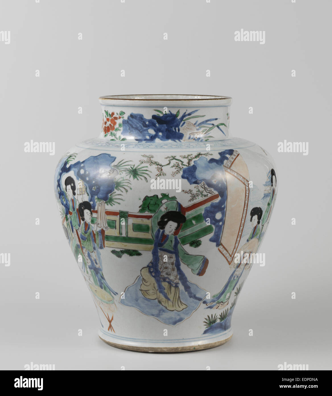Big polychrome balusterpot with music-making ladies, Anonymous, c. 1645 - c. 1660 - Stock Image