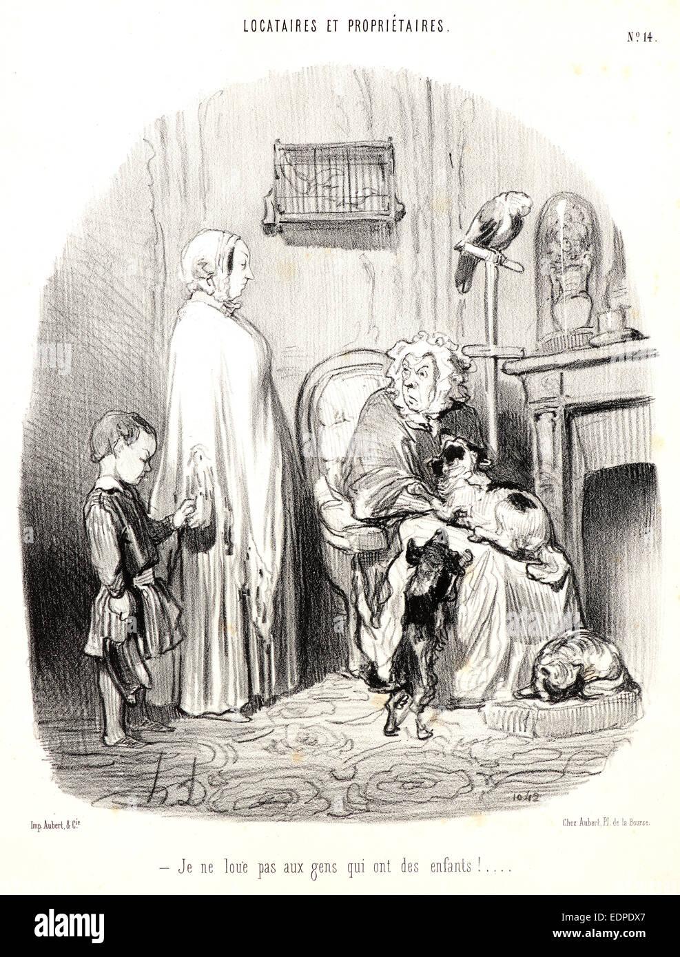 Honoré Daumier (French, 1808 - 1879). I don't rent to people with children! (Je ne loue pas aux gens qui - Stock Image