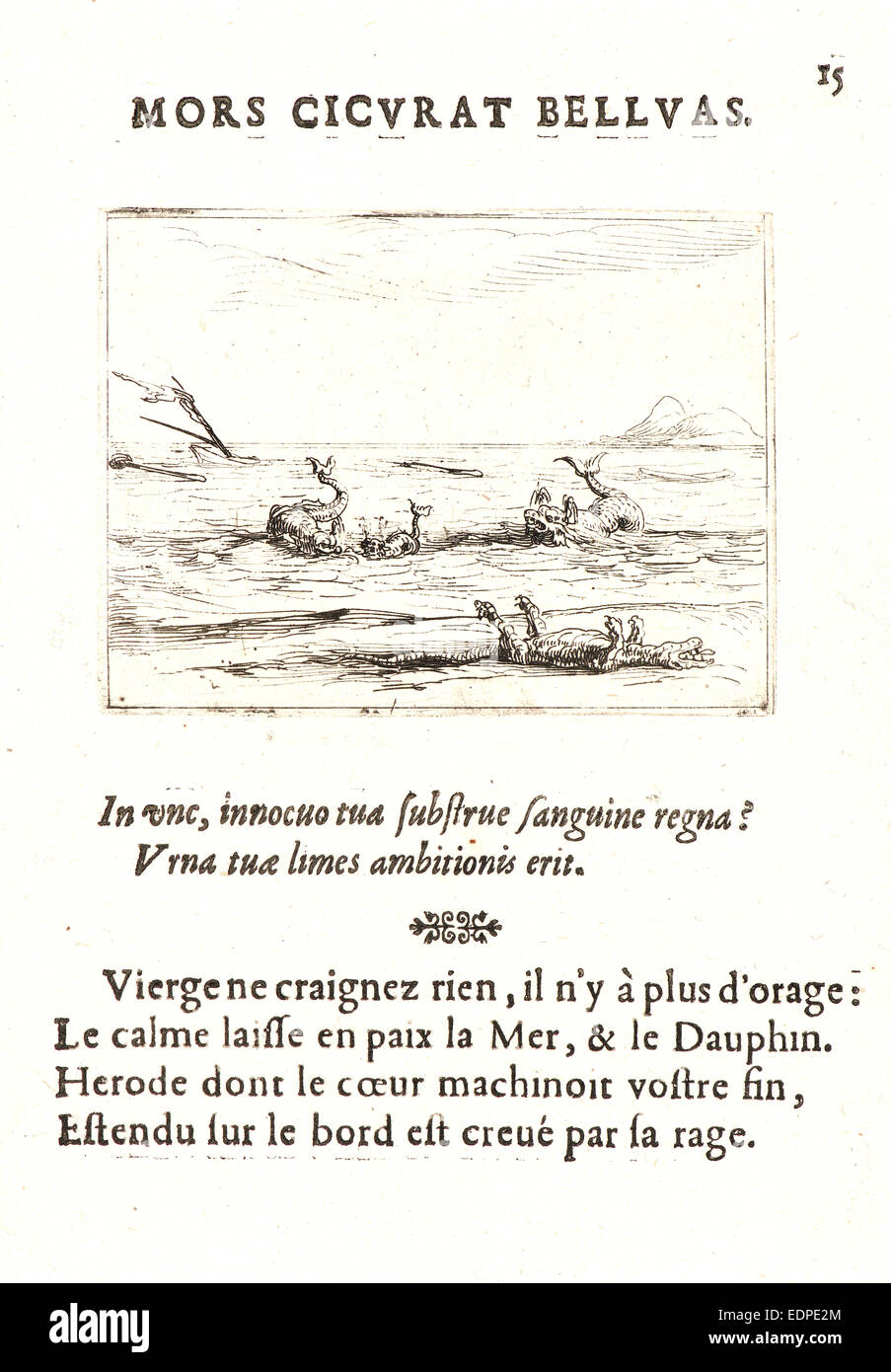 Jacques Callot (French, 1592 - 1635). Les Dauphins et le Crocodile, 17th century. From The Life of the Virgin in - Stock Image