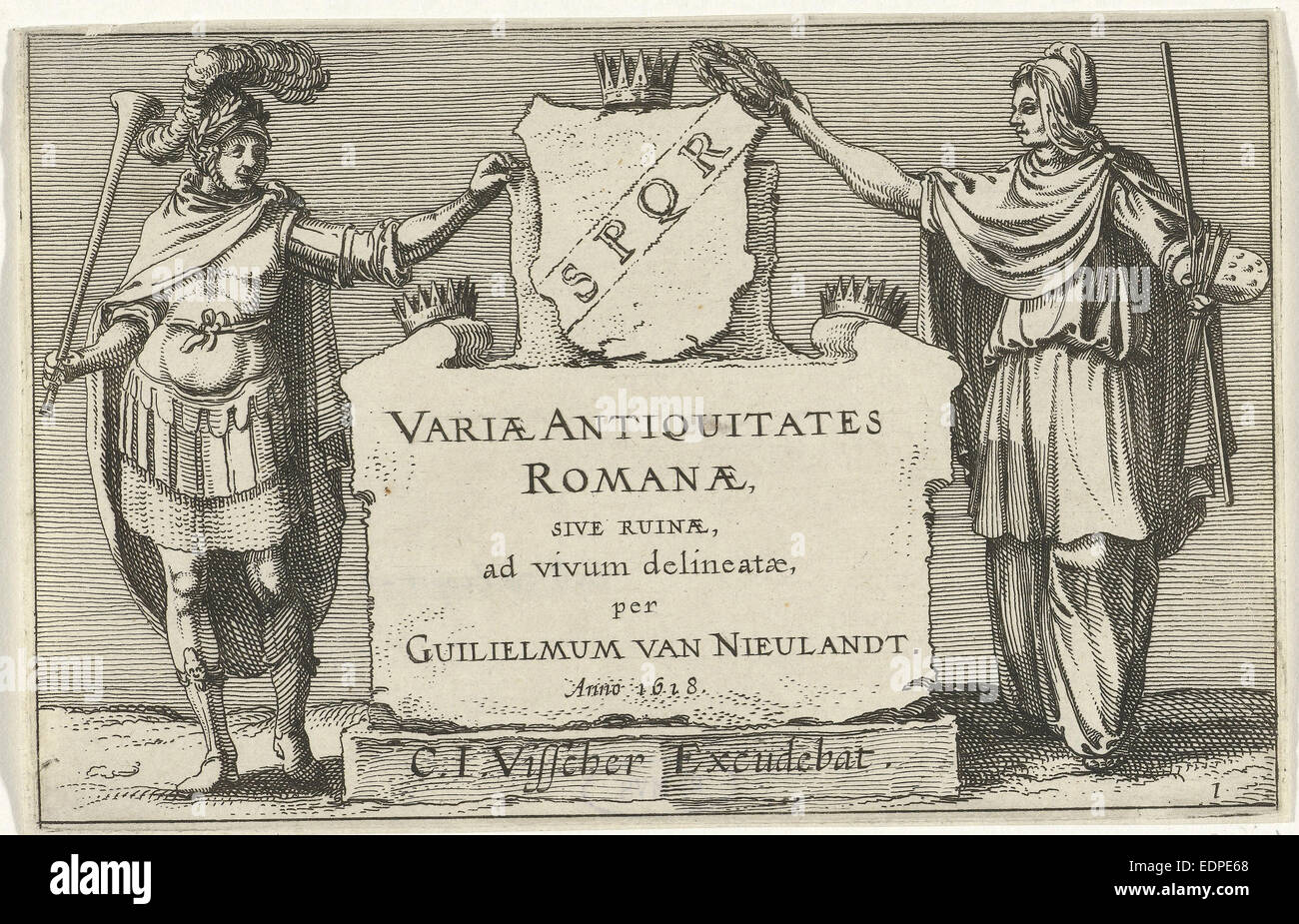 Fame and Arts besides a monumental stone, Anonymous, Claes Jansz. Visscher (II), 1618 - Stock Image
