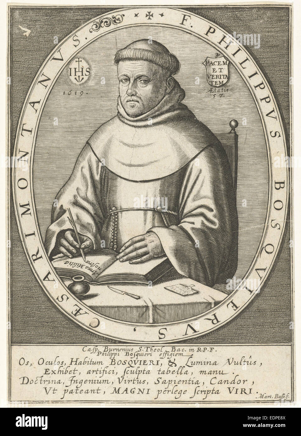 Portrait of Philippe Bosquier at the age of 57, Martin Baes, 1619 - Stock Image