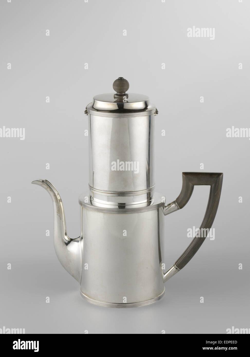 Drip filter coffee pot, Fa. Diemont, Jacobus Carrenhoff, 1816 - Stock Image