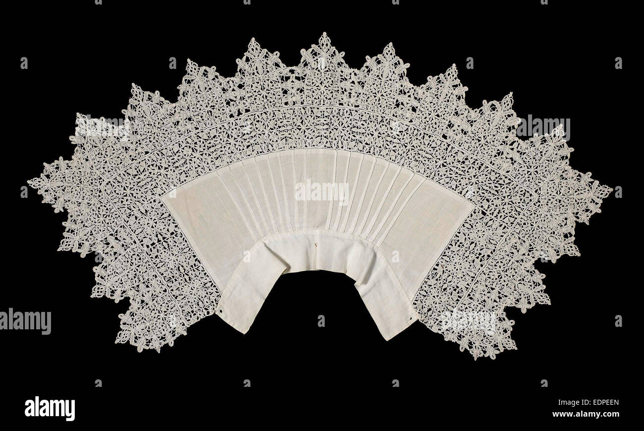 Collar of linen trimmed with reticella needle lace, Anonymous, c. 1625 - c. 1640 - Stock Image