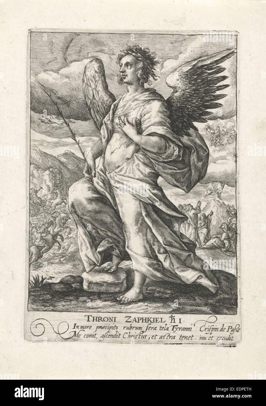 Archangel Zaphkiël, Crispijn van de Passe (I), 1574 - 1637 - Stock Image