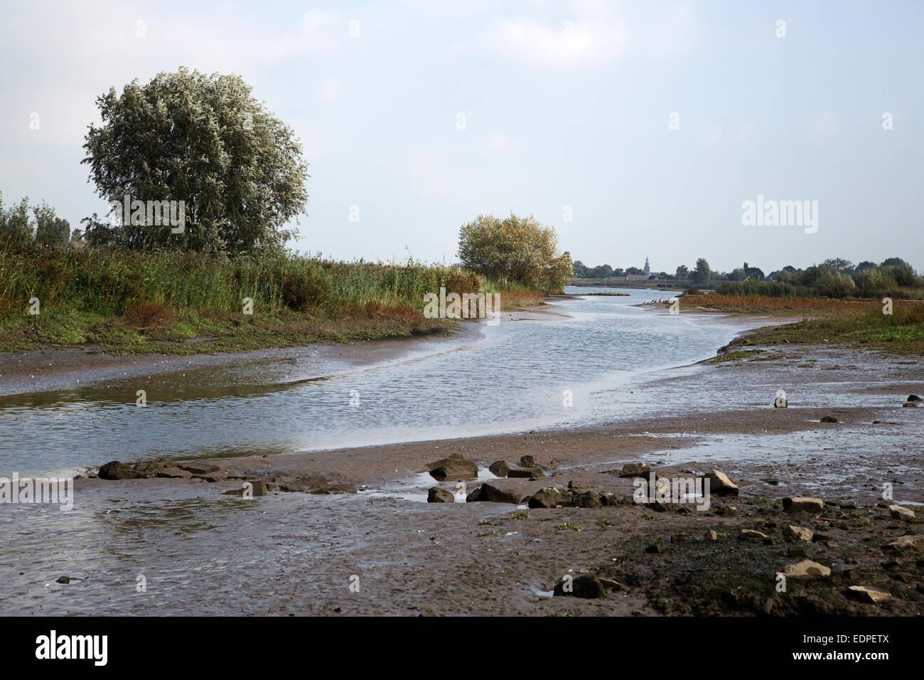 Cove along Dutch river Lek, Nieuw-Lekkerland, South Holland, Netherlands - Stock Image
