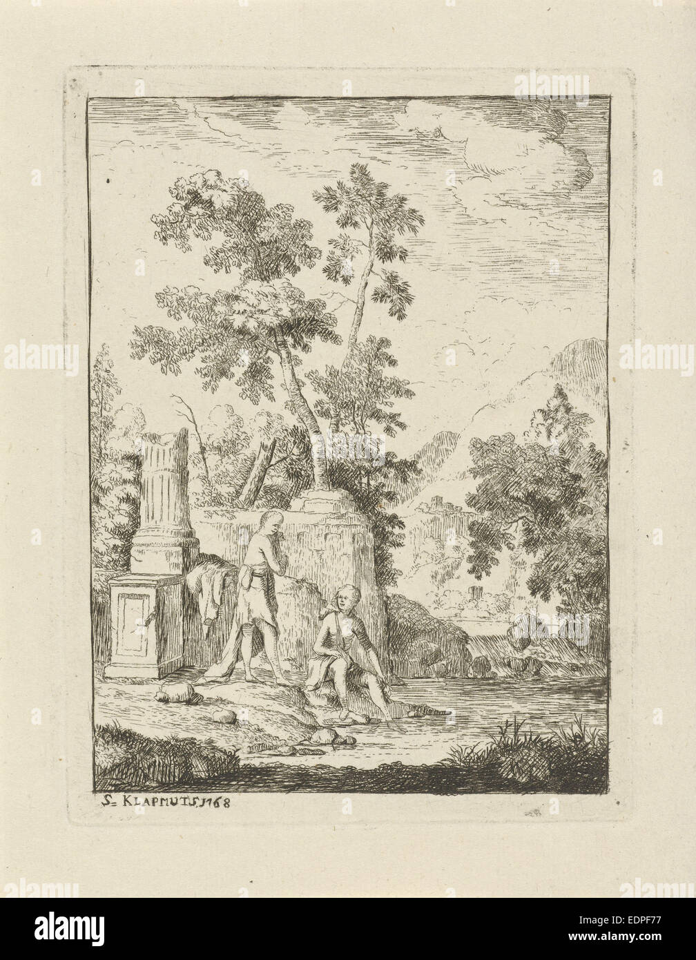 Bathing girls, Simon Klapmuts, 1768 - Stock Image
