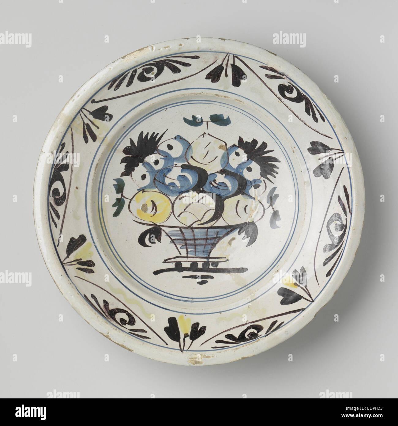 Dish polychrome painted majolica, Anonymous, c. 1725 - c. 1775 - Stock Image