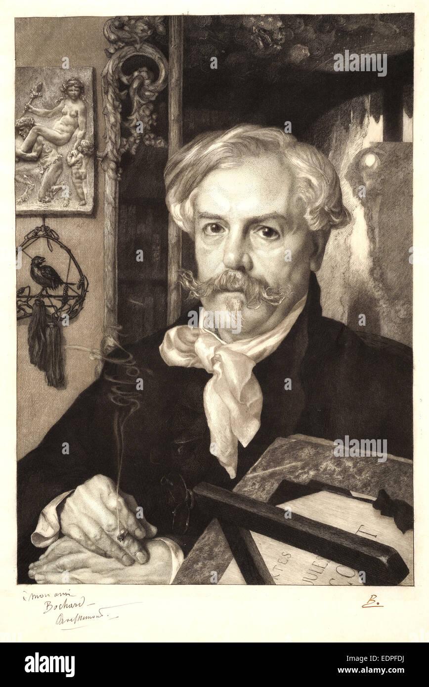 Félix Bracquemond (French, 1833 - 1914). Portrait of Edmond de Goncourt, 1882. Etching on parchment - Stock Image