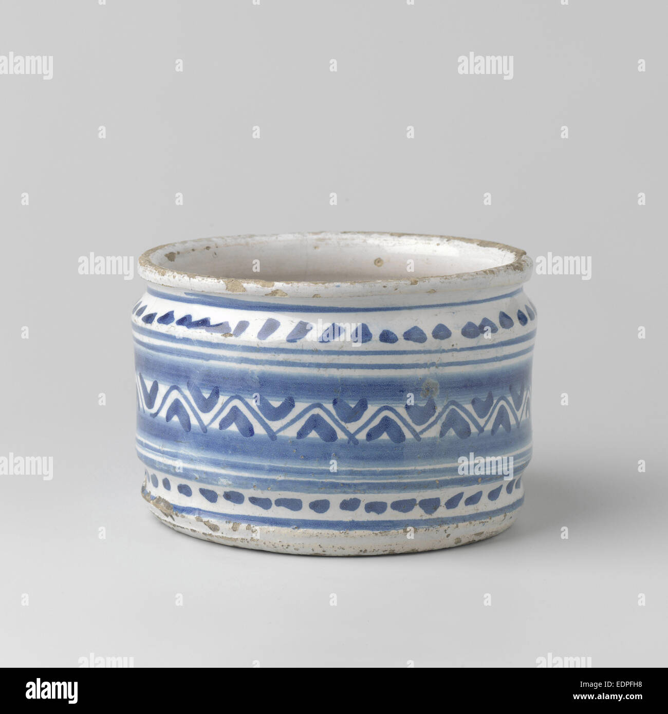 Cream jars, painted blue with geometric motifs., Anonymous, c. 1625 - c. 1650 - Stock Image
