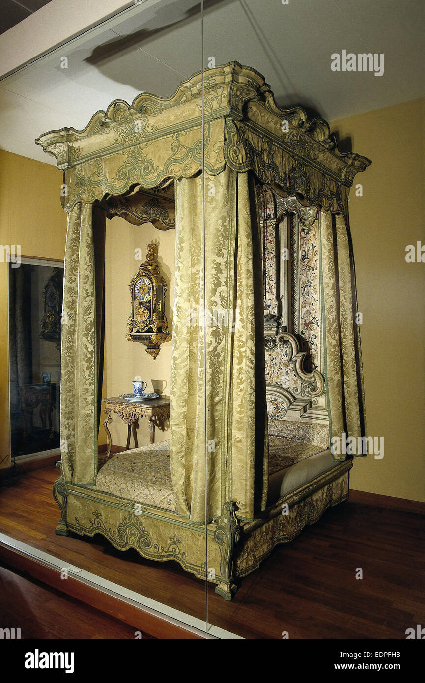 Four-poster bed, Anonymous, c. 1715 - c. 1720 - Stock Image