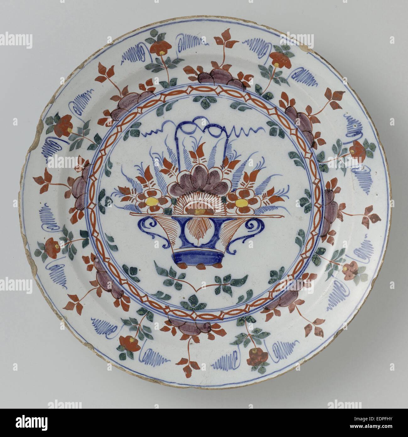 Dish polychrome faience, Anonymous, c. 1760 - c. 1790 - Stock Image