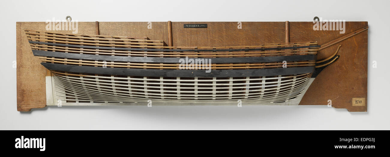 Half Model of a liner of 80 pieces, Anonymous, c. 1797 - Stock Image