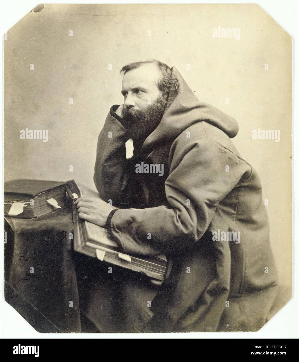 Genre Portrait of a monk, Louis Wegner, 1858 - Stock Image