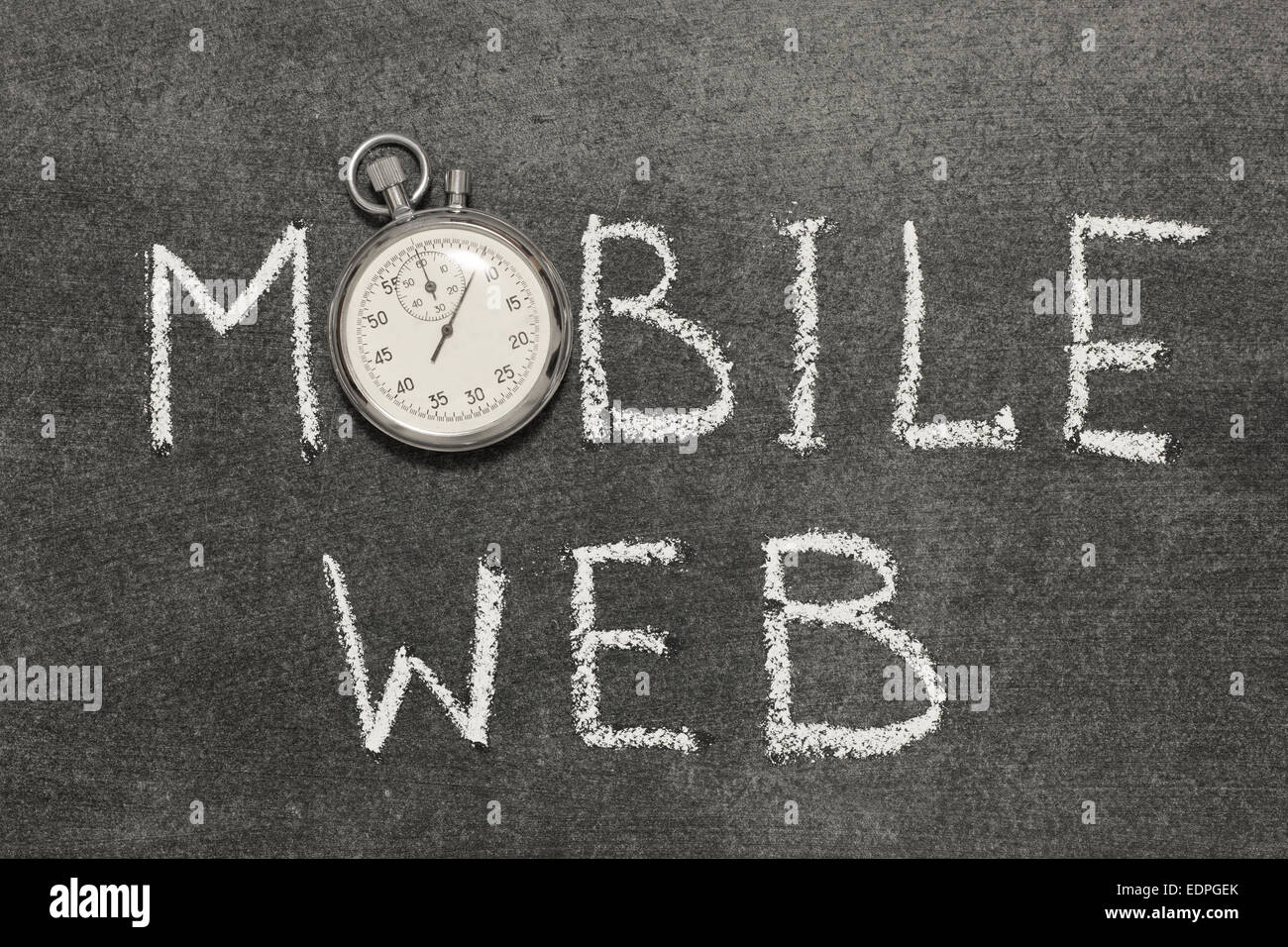 mobile web phrase handwritten on chalkboard with vintage precise stopwatch used instead of O - Stock Image