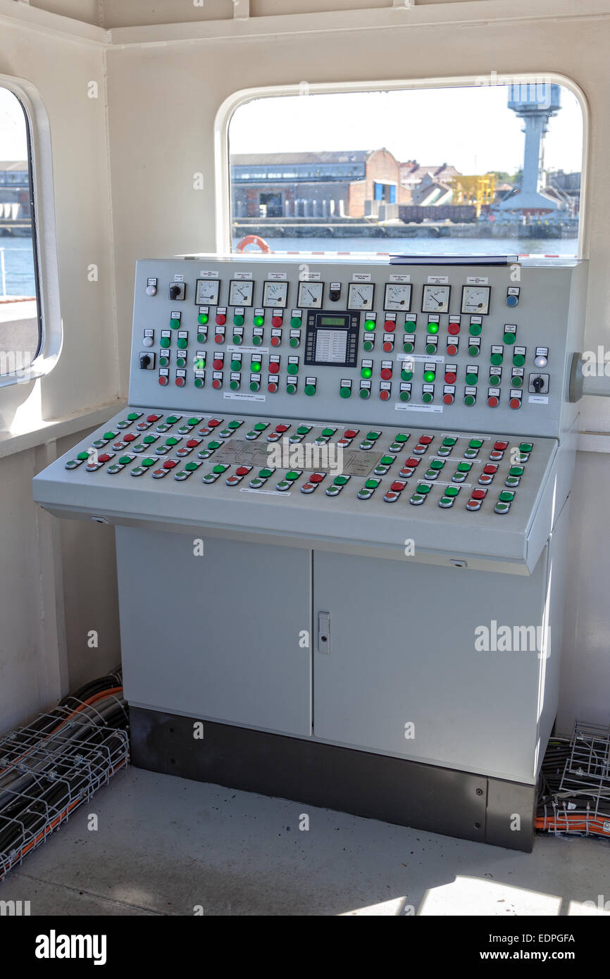 Many buttons and switches - control panel in a machine. - Stock Image