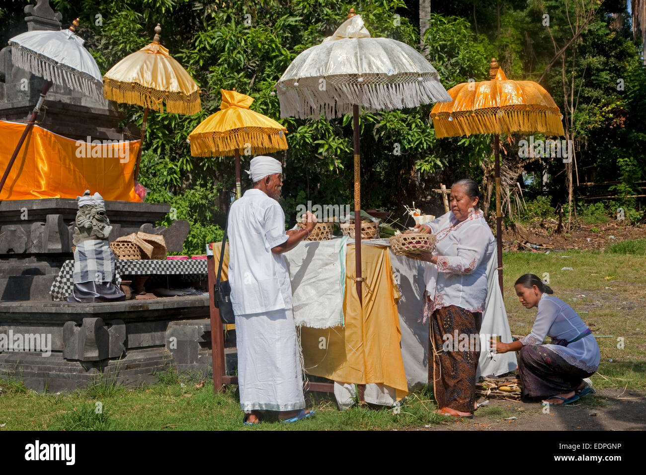 Indonesian Hindus preparing for Nyepi Day, the Balinese day of Silence on the island Bali, Indonesia - Stock Image