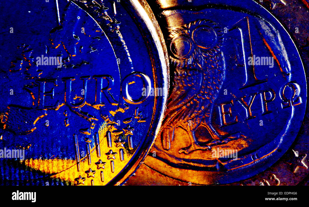 ILLUSTRATION - Greek euro coins feature the European flag in Cologne, Germany, 7 January 2015. According to media - Stock Image