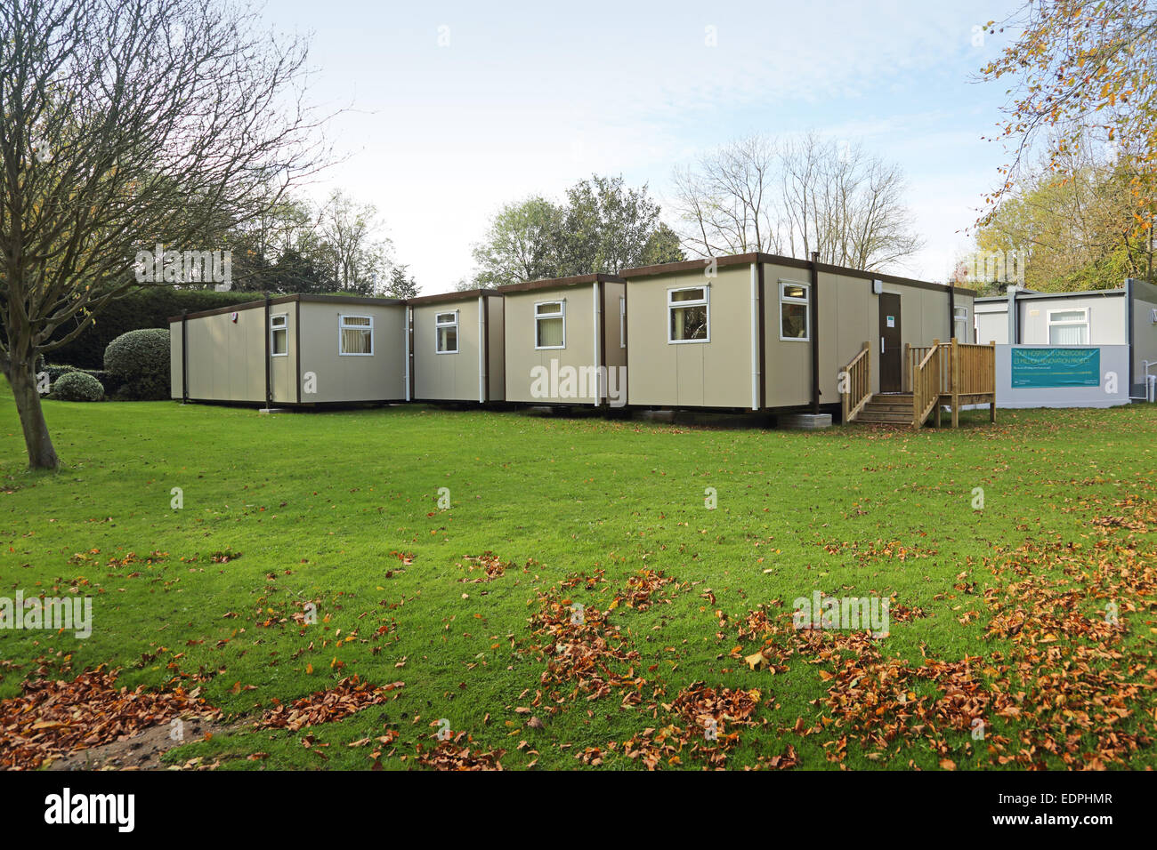 Temporary hospital outpatients accommodation constructed from modular Portakabin style units. - Stock Image