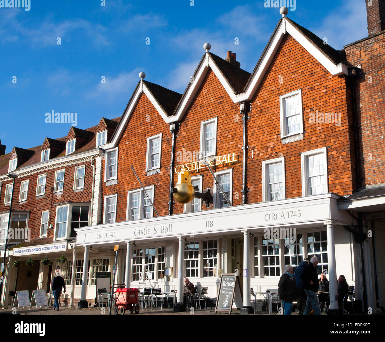 Castle and Ball pub in historic building on the High Street, Marlborough, Wiltshire, England, UK - Stock Image