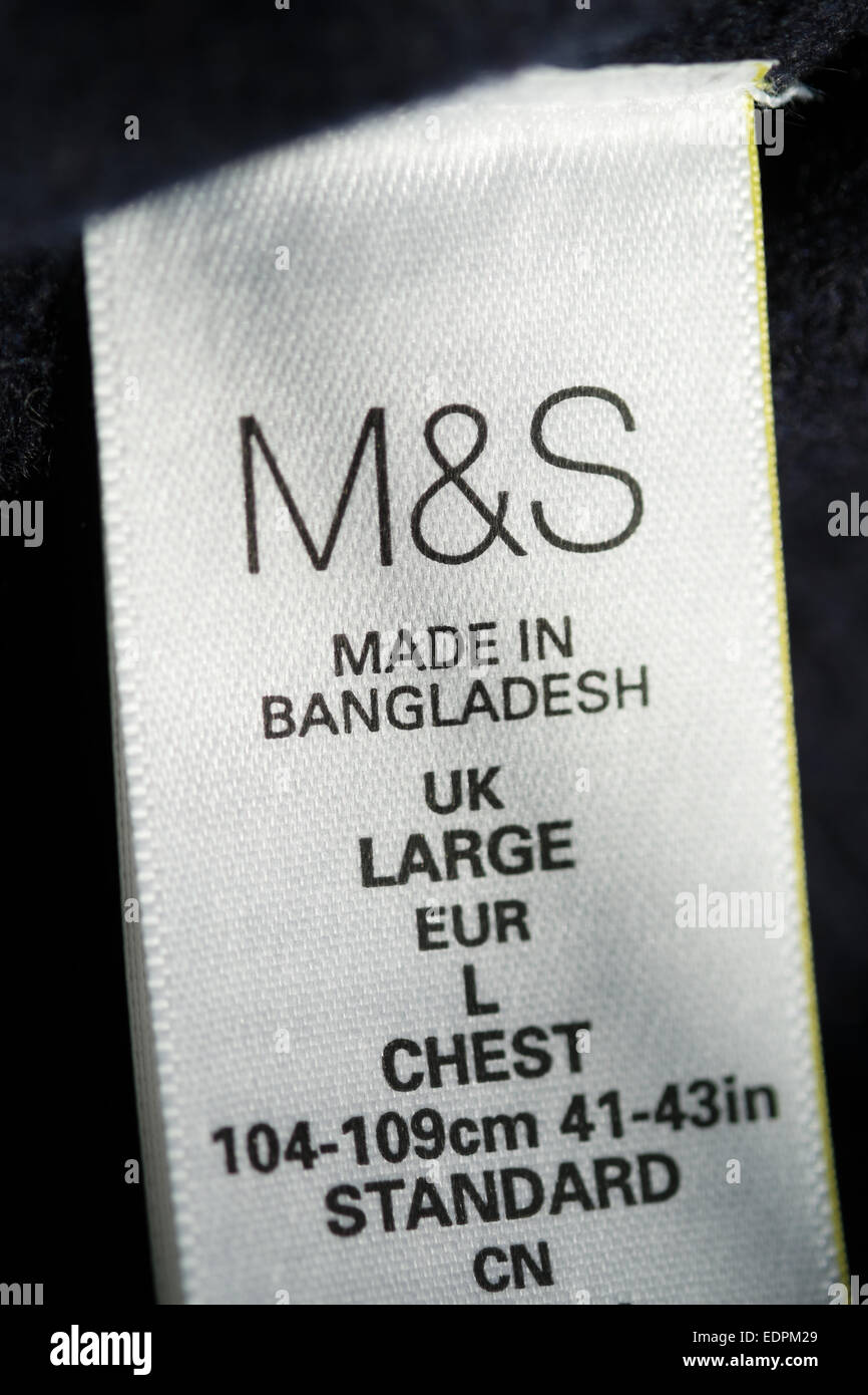 Marks and Spencer clothing made in Bangladesh - M&S label - Stock Image