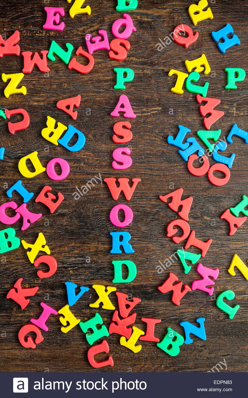 Hidden password in amongst alphabet letters - Stock Image