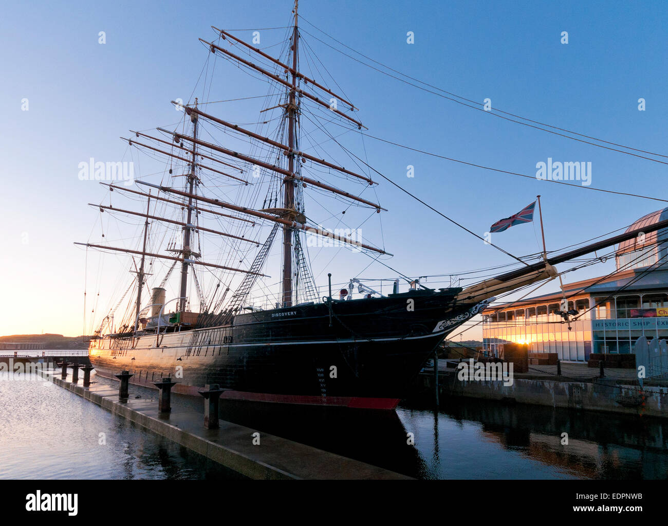rrs discovery point dundee museum visitor centre dusk - Stock Image