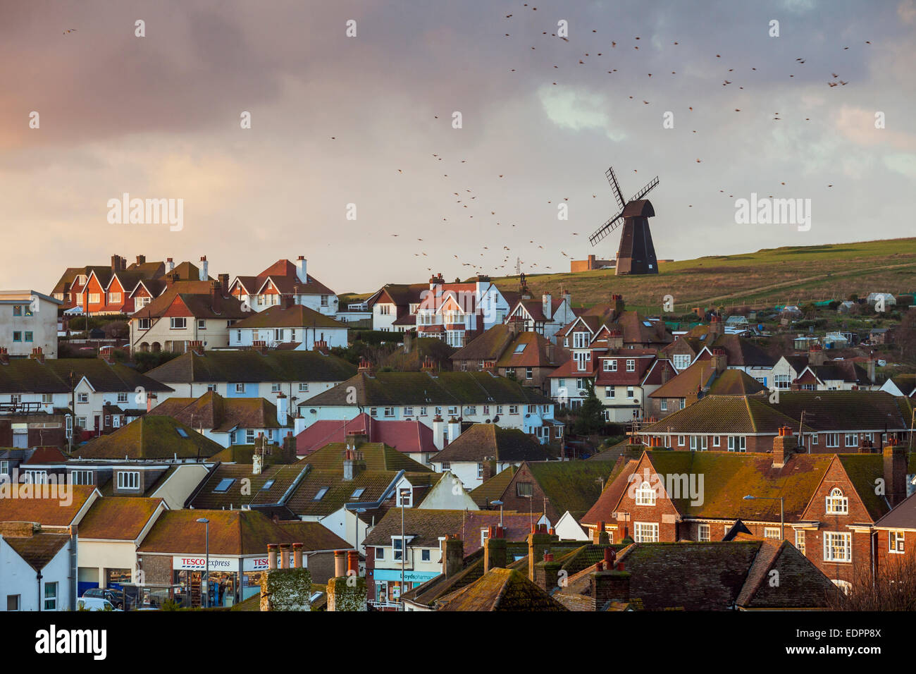 Rottingdean village, East Sussex, UK. 8th January, 2015. Starlings circle over Rottingdean in East Sussex in the Stock Photo