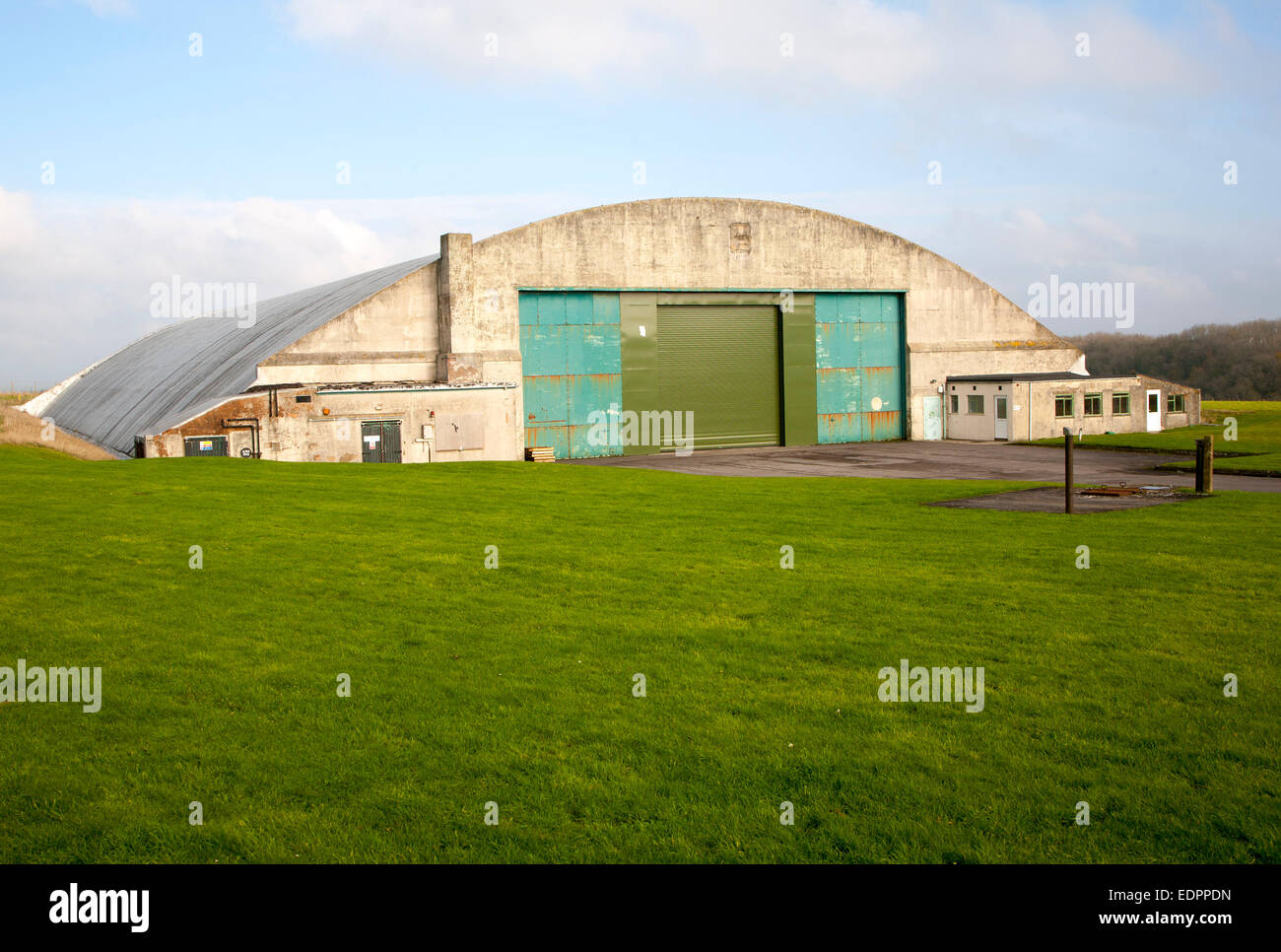 Aircraft hangar at former RAF Wroughton site, near Swindon, Wiltshire, England, UK used as a storage facility Stock Photo