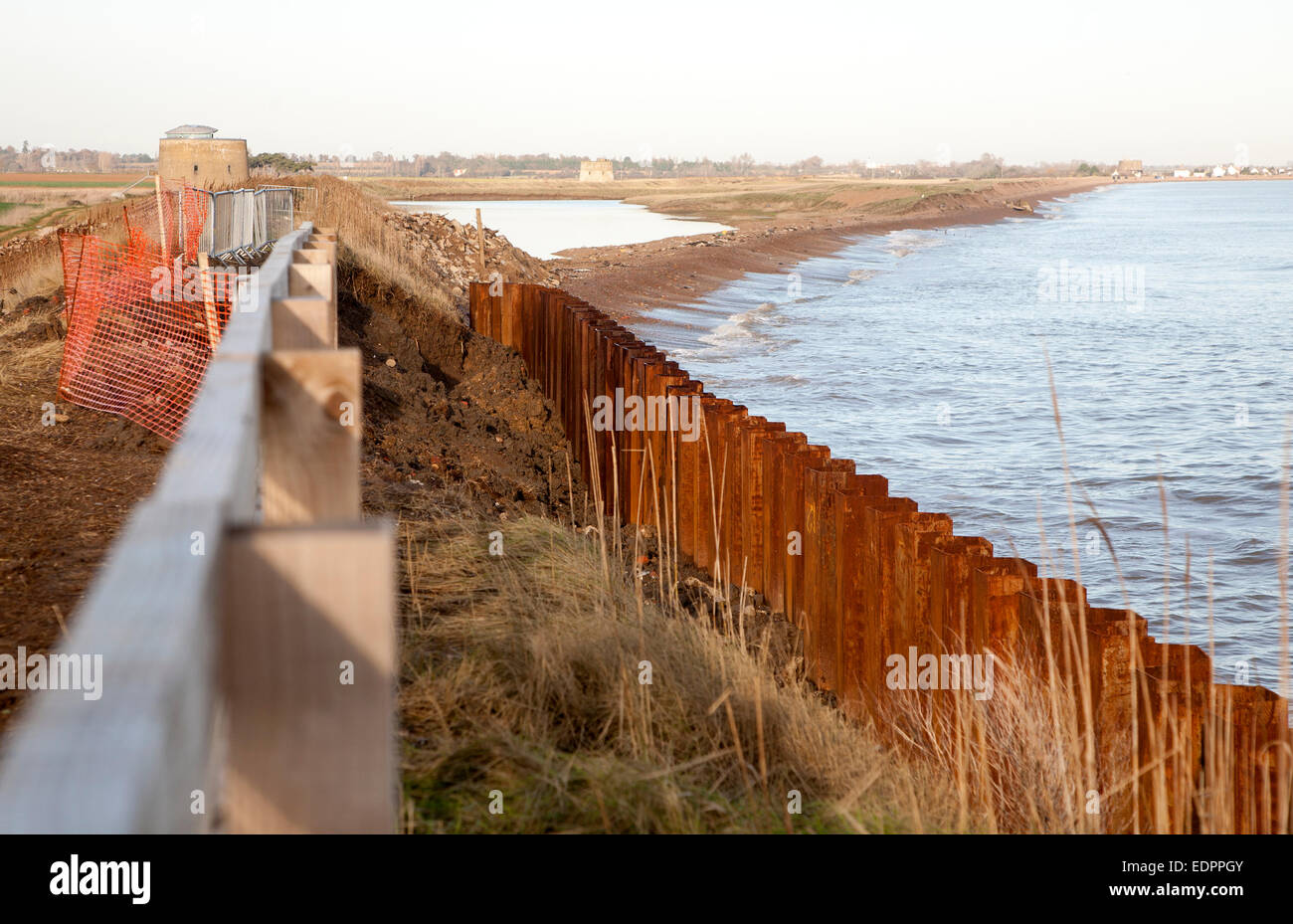 Steel sheet piling constructed as a coastal defence against rapid erosion at East Lane, Bawdsey, Suffolk, England, - Stock Image