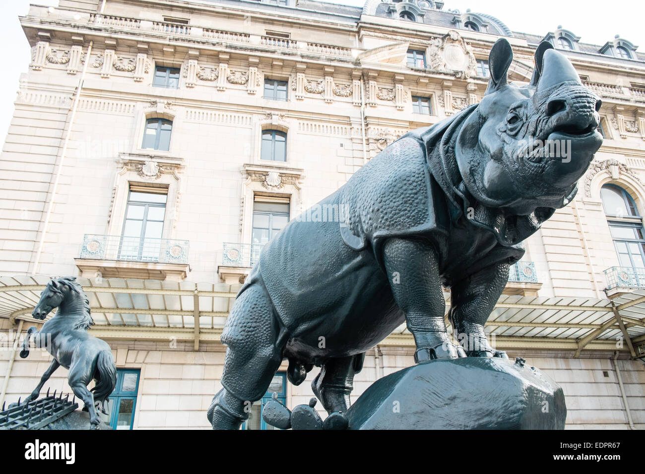 Entrance with Rhinoceros ´Rhino´ sculpture by Alfred Jacquemart, Exterior,Rhino, Museum,Musee D'Orsay,Paris - Stock Image
