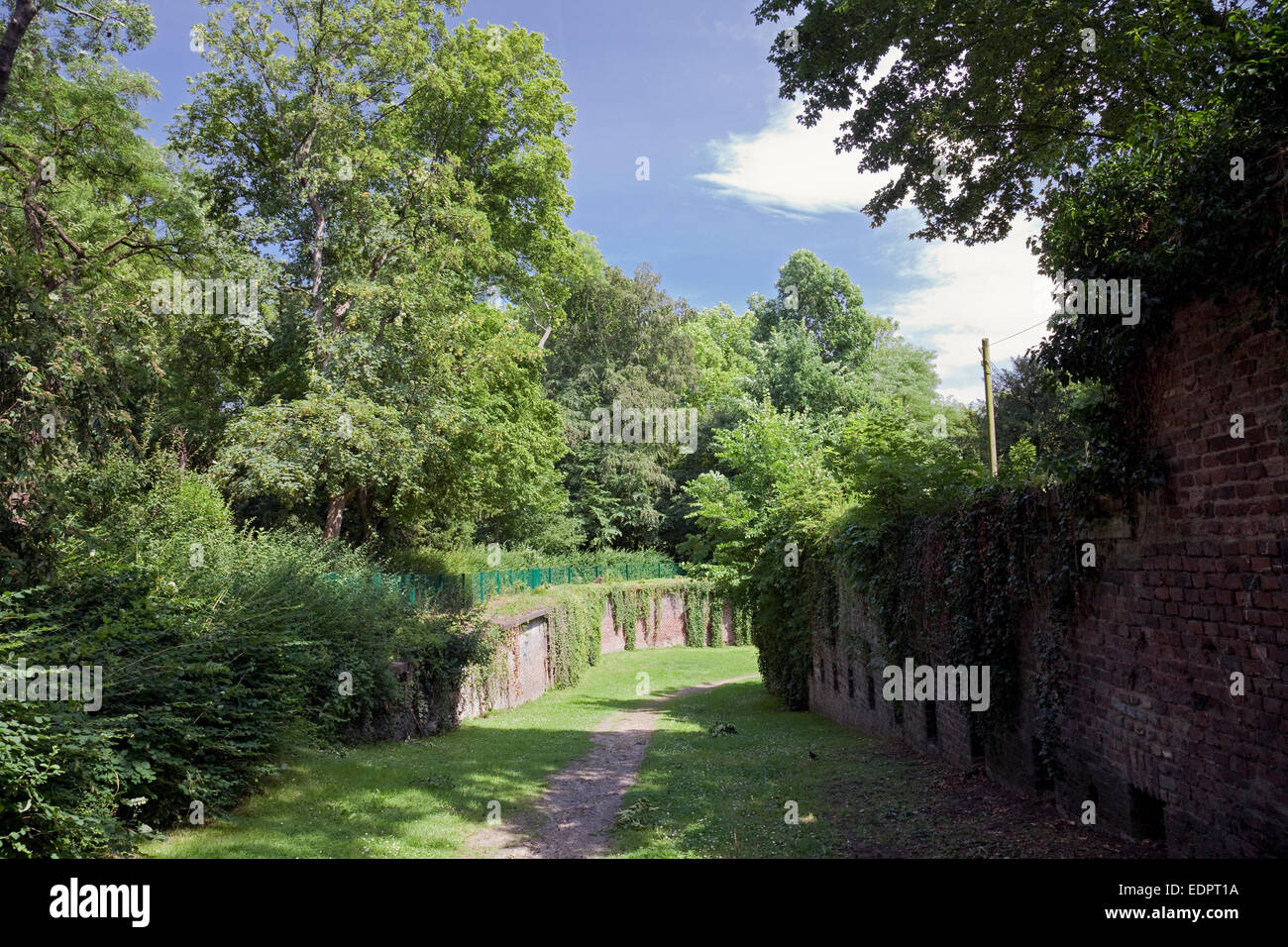 Remains of historic Prussian fortifications, Volksgarten, Cologne, Rhine-Westphalia, Germany - Stock Image