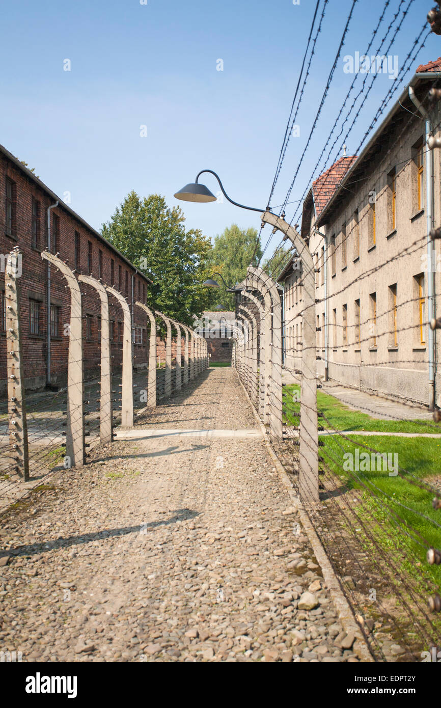 barbed wire fencing and surround blocks at Auschwitz concentration camp, Auschwitz, Poland Stock Photo