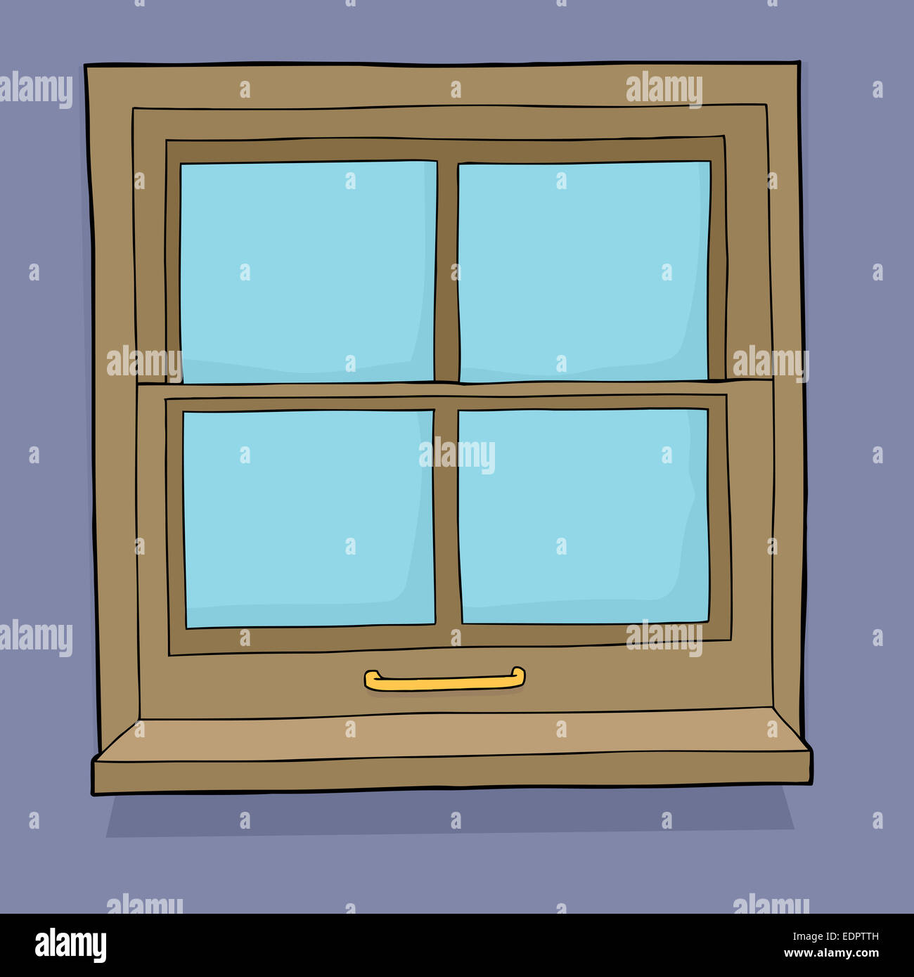 Single Hand Drawn Cartoon Window With Four Panes Stock Photo Alamy