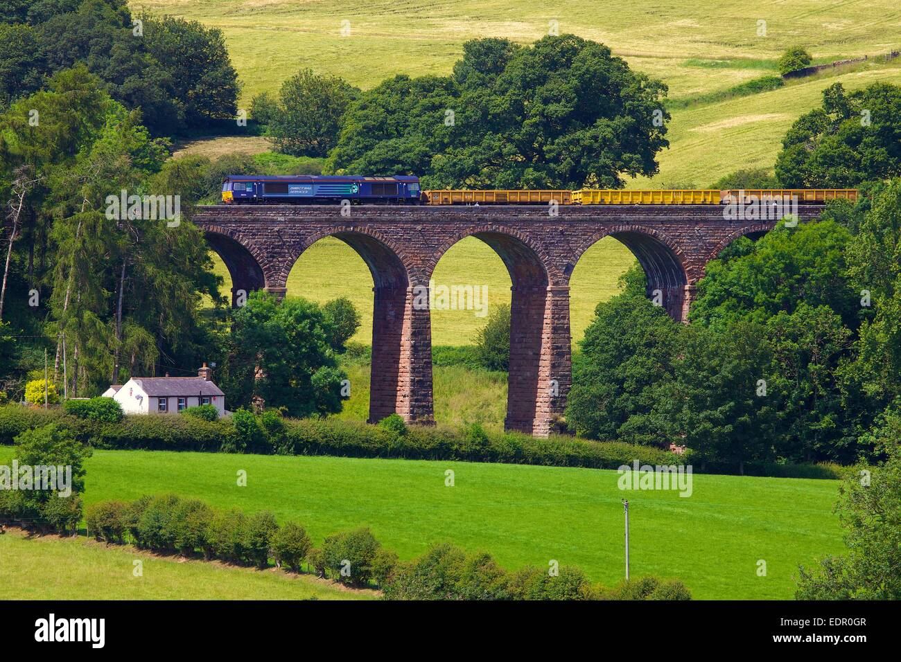 Direct Rail Services diesel train Dry Beck Viaduct  Armathwaite Settle to Carlisle Railway Line Eden Valley Cumbria - Stock Image