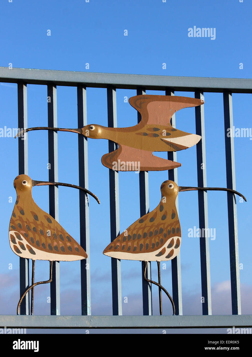 Part of the artwork for the Tern project on Morecambe promenade showing birds in flight and on ground on railings. - Stock Image