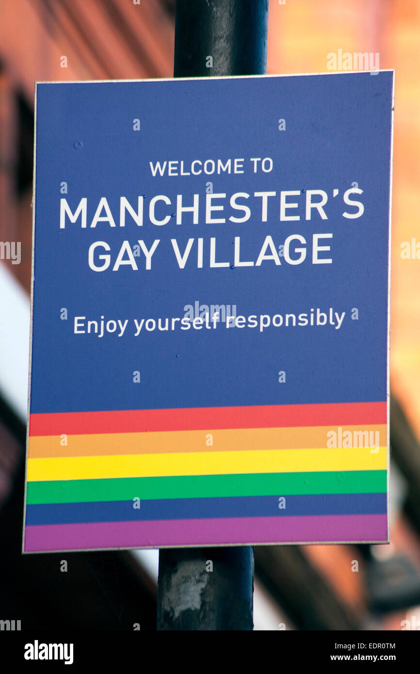 Manchester's Gay Village Sign - Stock Image