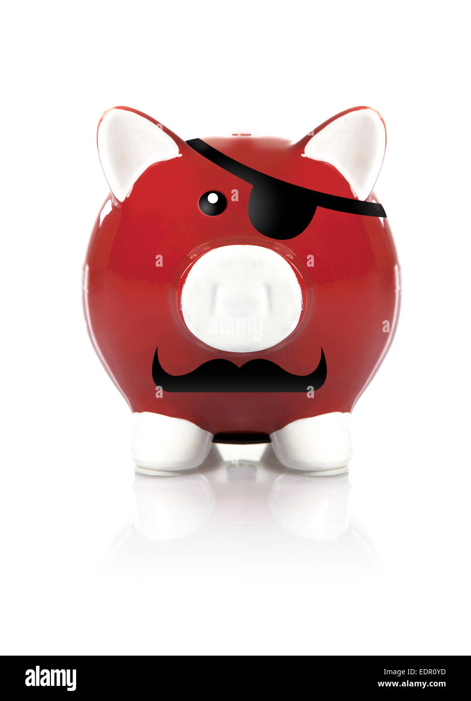 Pirate piggy bank with eye patch looking at camera on white background - Stock Image