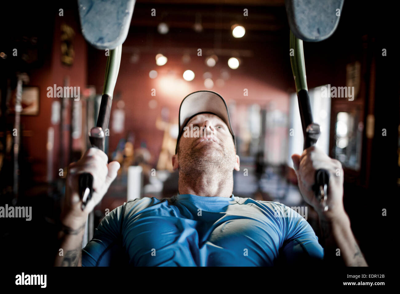 Mountain Athlete Training - Working out at the gym. - Stock Image