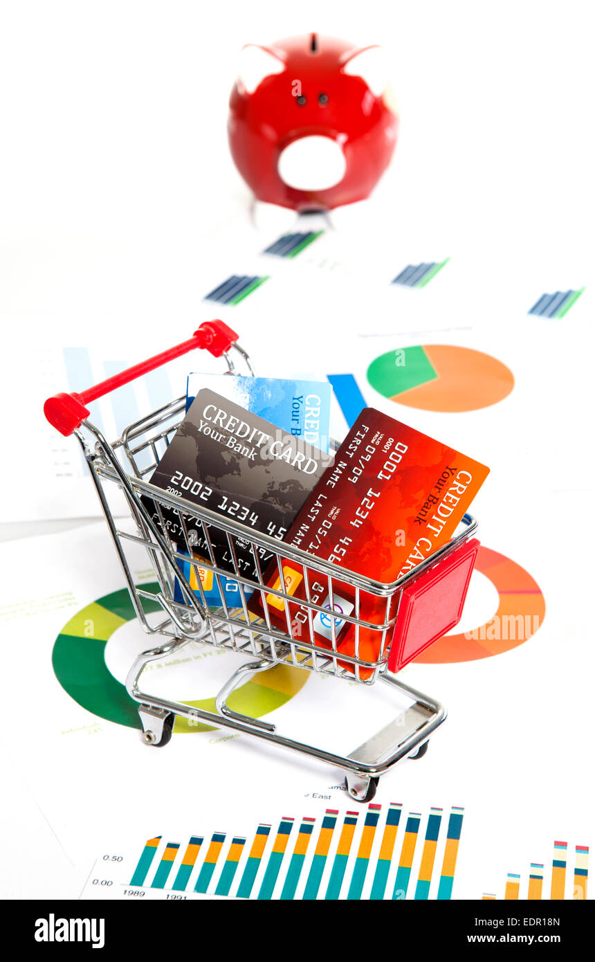 Shopping budget concept with financial charts - Stock Image