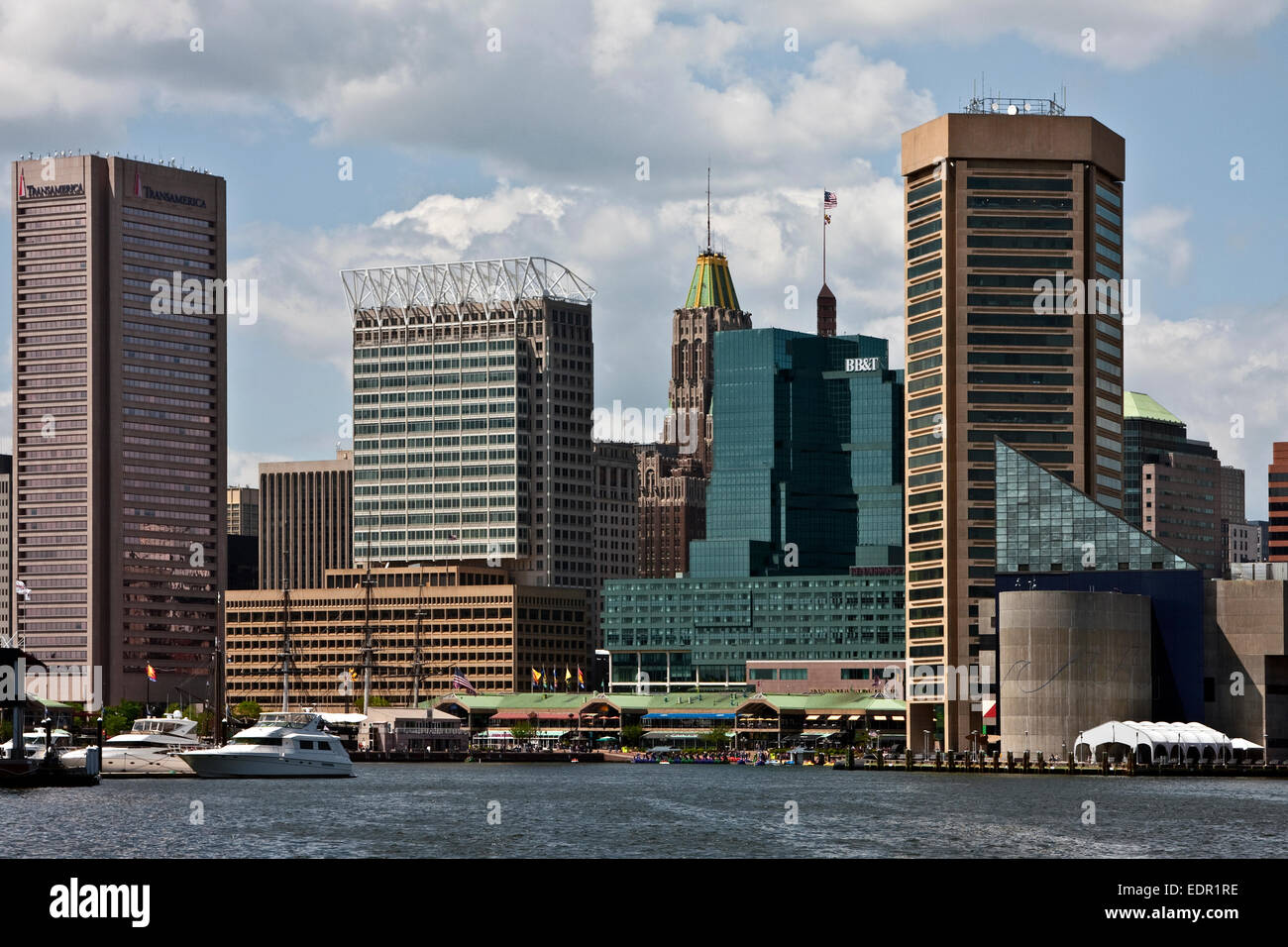 Baltimore, Maryland, Fells Point, Inner Harbor, World Trade Center, national Aquarium in Baltimore, - Stock Image