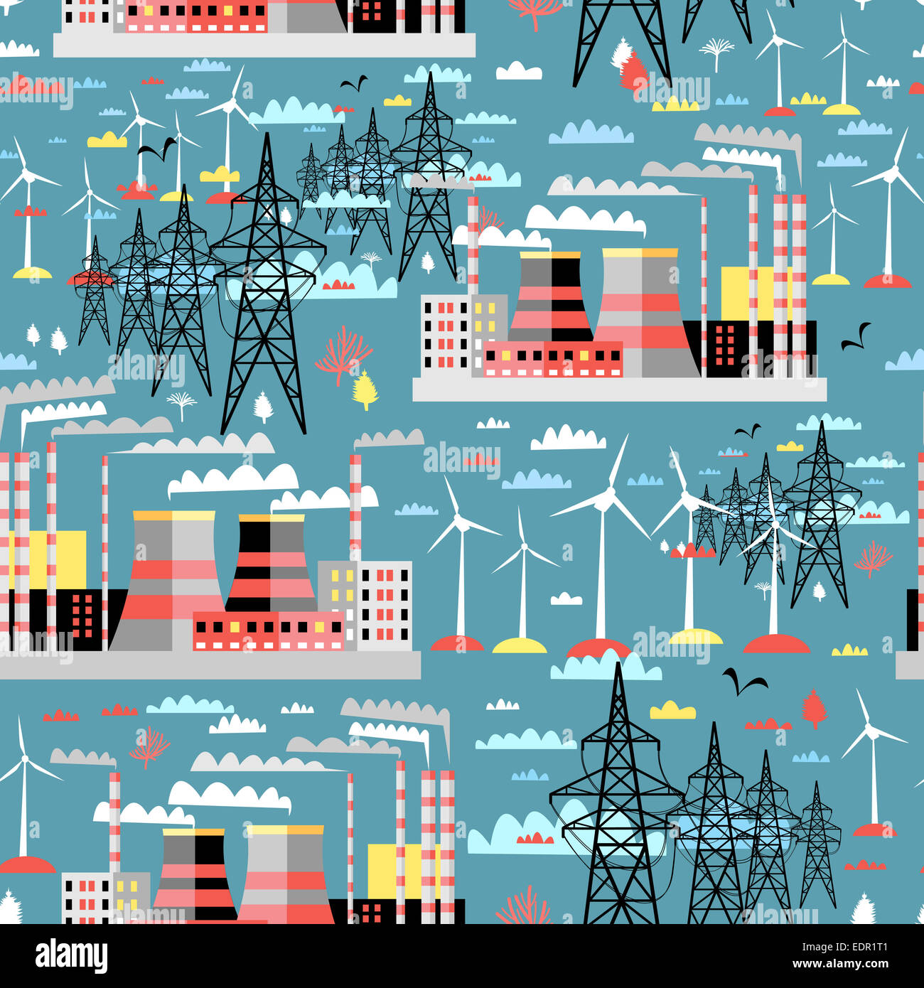 Power Plant Diagram Images Steam Stock Photos Graphic Color Pattern Of Thermal And Wind Plants Lines On A Blue Background