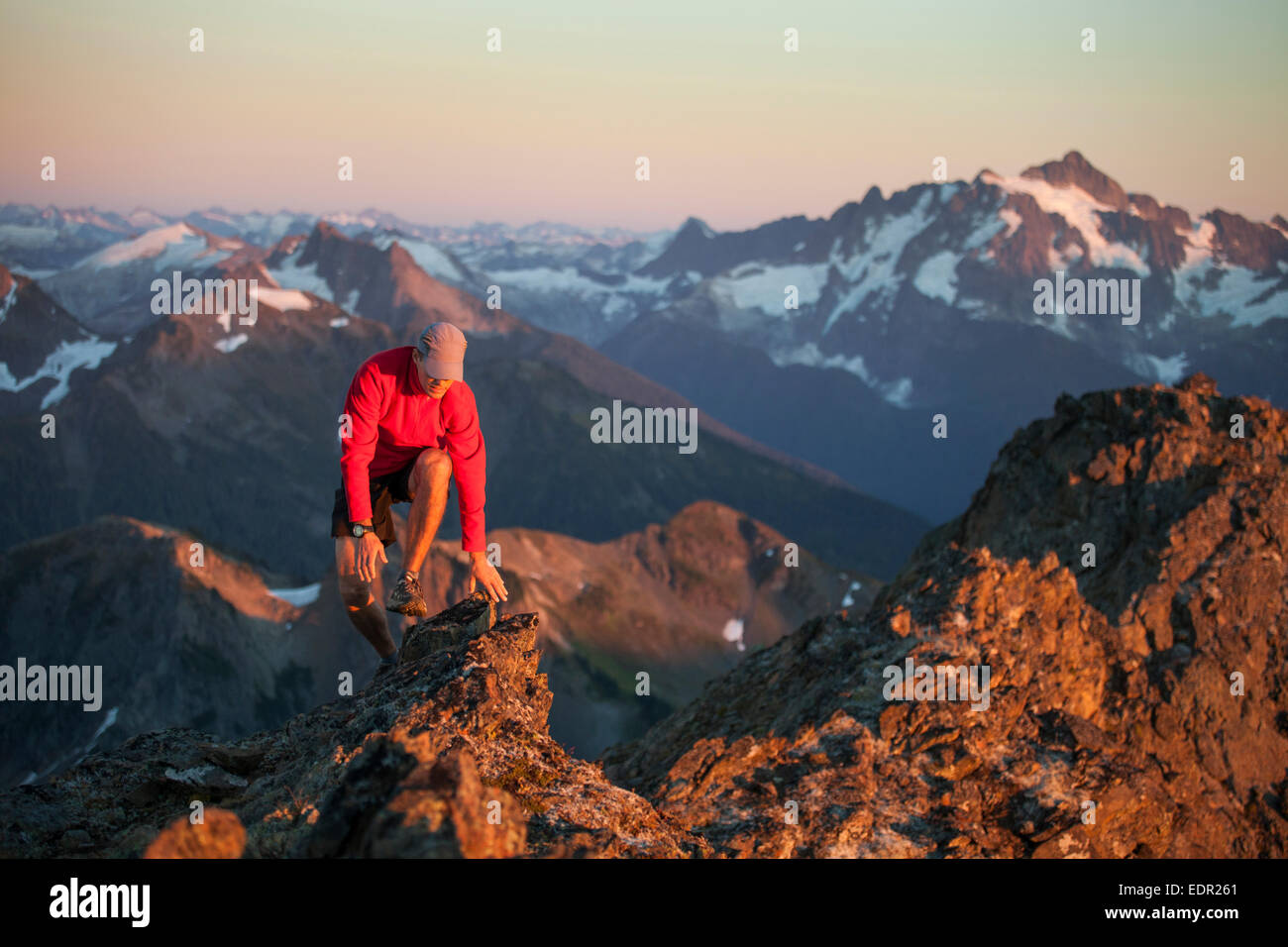 Scrambling in North Cascades National Park - Stock Image