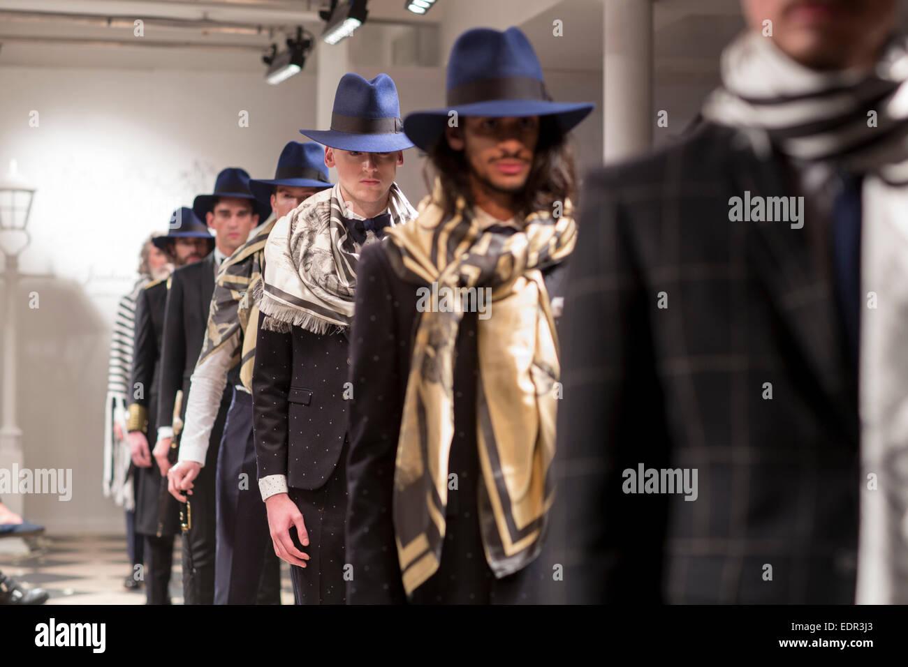 First show of fashion designer Joshua Kane - Stock Image