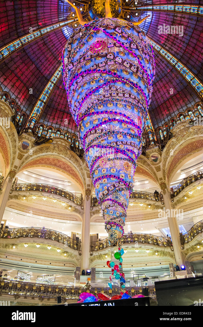 upside down decorated christmas tree the huge attraction under the famous dome at galleries lafayette department - Upside Down Christmas Tree Decorated